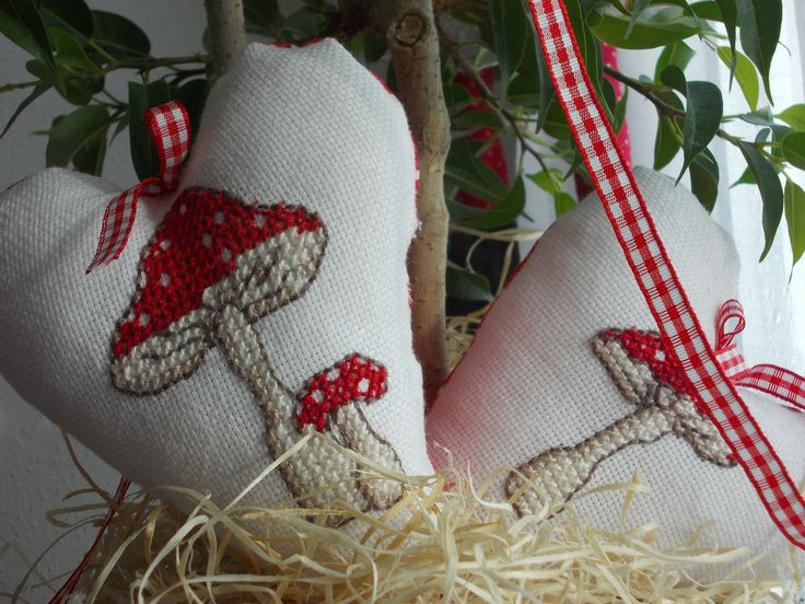 DIY cross stitch mushrooms