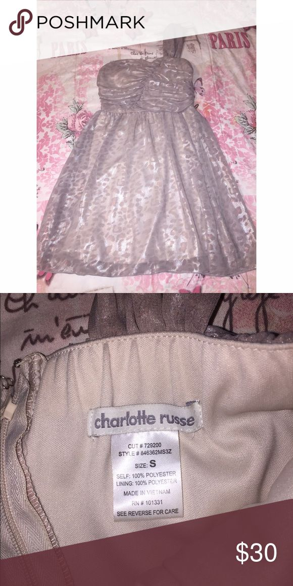Gold cheetah dress One shoulder shimmery dress. Homecoming/Prom. Size Small. Worn once Charlotte Russe Dresses