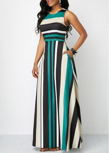 Sleeveless Stripe Print Zipper Back Pocket Maxi Dress | Rotita.com – USD $37.12