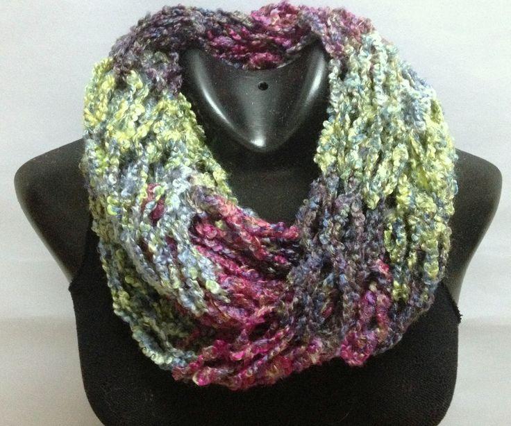 bufanda infinita dos vueltas tejida con lana argentina multi color tcnica dos agujas con