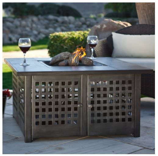 Patio Fire Pit Table Gas Propane Heater Fireplace Outdoor Furniture with Cover #Uniflame