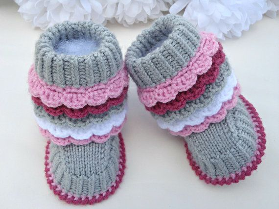 Crochet Pattern Baby Knitting Pattern Newborn Girl Baby Shoes Pattern Baby Booties Knitted Baby Uggs Knitted Baby Booties Pattern (PDF file)...