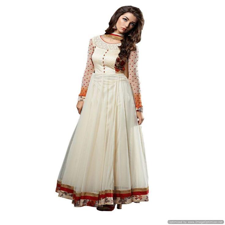 New Designer Off White Anarkali Salwar Suit
