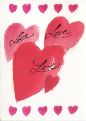 Texto Postcard, Love, Love, Love, Illustration by Anna Petrov