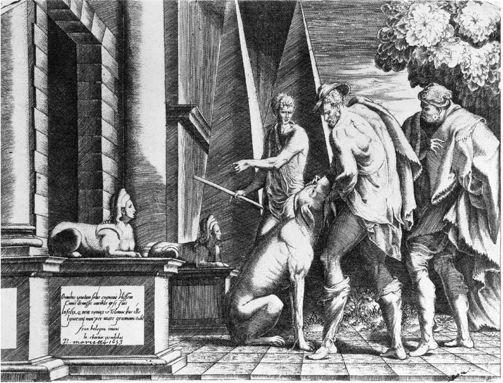 Le retour à Ithaque; Jean Chartier, d'après le Primatice. Ulysse reconnu par son chien Argos. Gravure 16°s