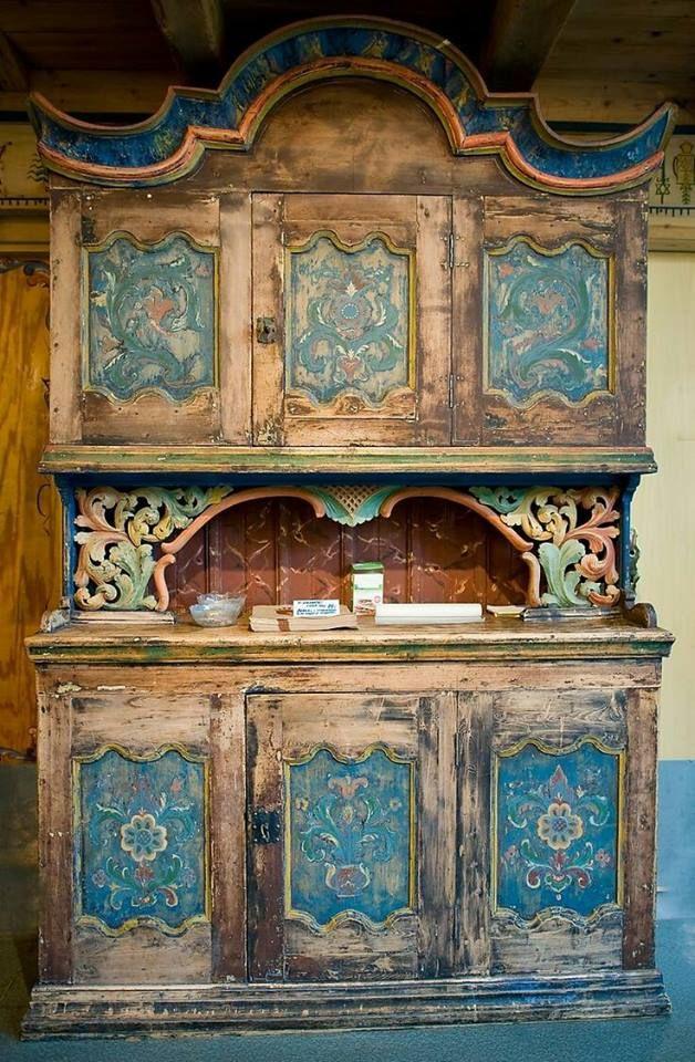 Folk Art Handpainted Cabinet At Elveseter Art U0026 Culture Hotel, Norway