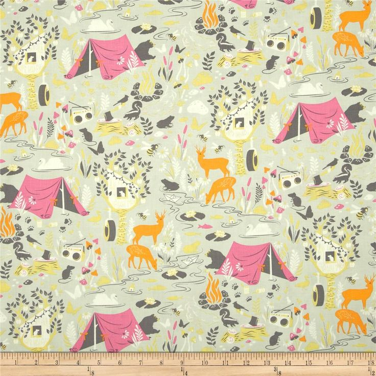 Designed by Tula Pink for Free Spirit, this cotton print is perfect for quilting, apparel and home decor accents.  Colors include cream, grey-green, yellow, orange, pink and grey.
