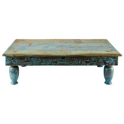 Mesa baja de madera reciclada azul efecto envejecido An. 122 cm