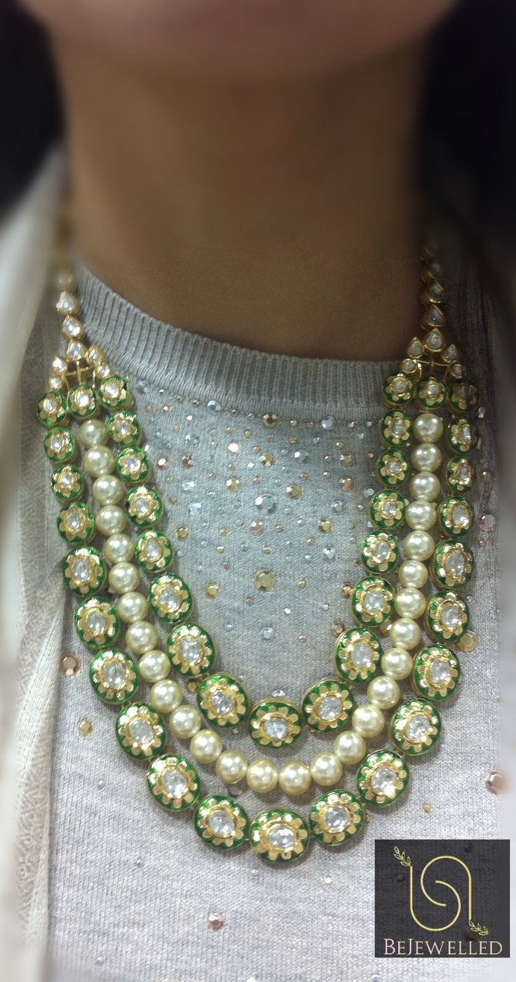 Polki strings with pearl