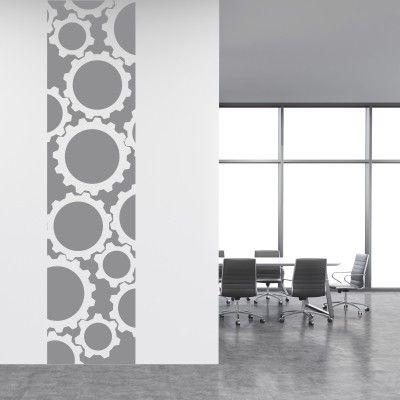 Adesivo Murale Cornice Ingranaggi - Stickers Murali