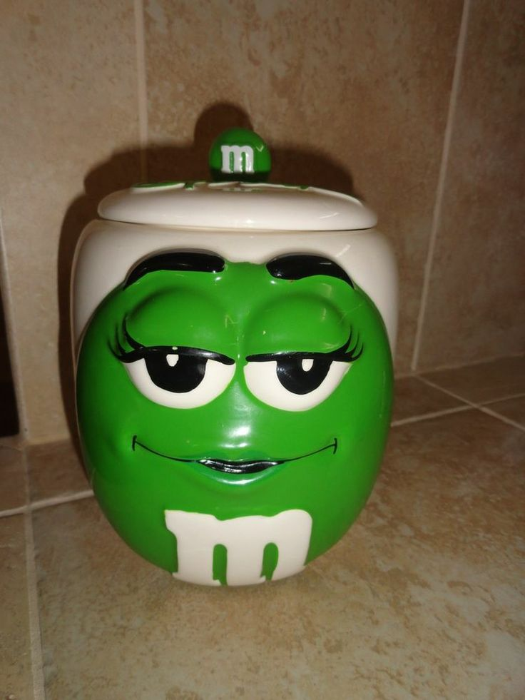 M&M Green Sexy Lady Candy Cookie Jar Canister 7.5