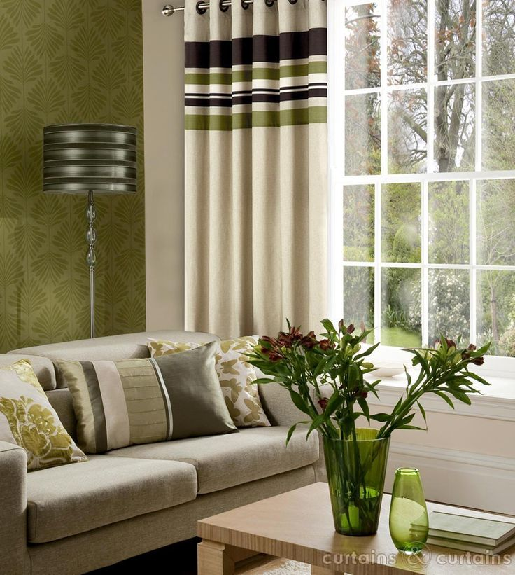 Green And Brown Curtains: Yale Green Brown Striped Eyelet Curtain