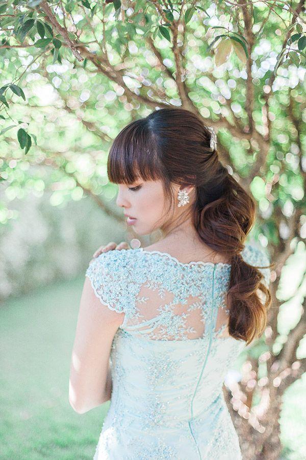 Penteado de noiva - rabo de cavalo com franja - editorial de beleza para noivas asiáticas ( Beleza: Atelier de Beauté | Foto: Ale Marques )