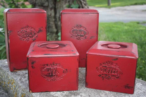 Rustic Red Wooden Canister Set Shabby Chic Kitchen Decor