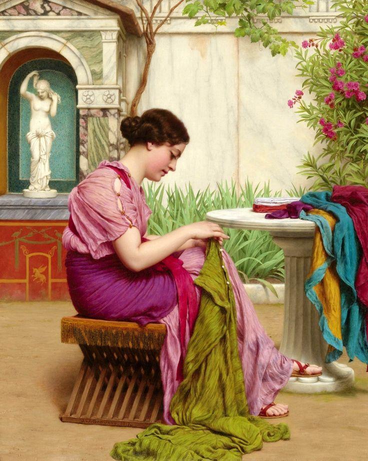 The Athenaeum - A Stitch is Free (John William Godward - )