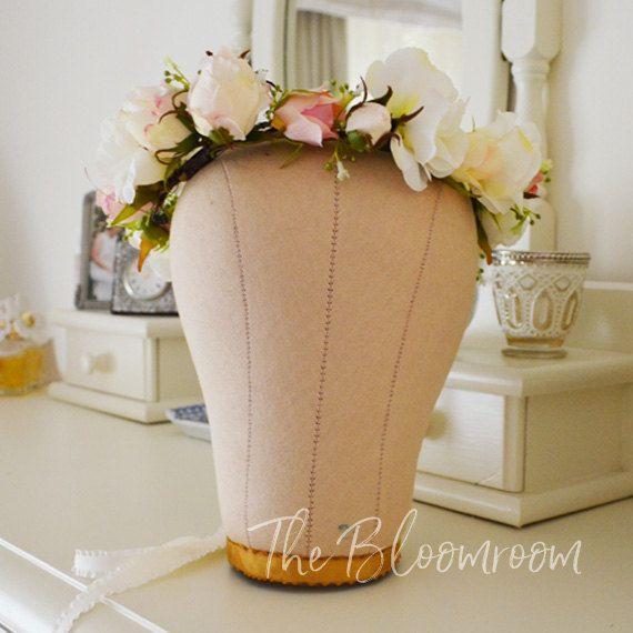 Pink Crown / Pink rose / White Lisianthus / Rose crown / White hair wreath / Flower girl crown / Wedding hair crown / Silk flower crown