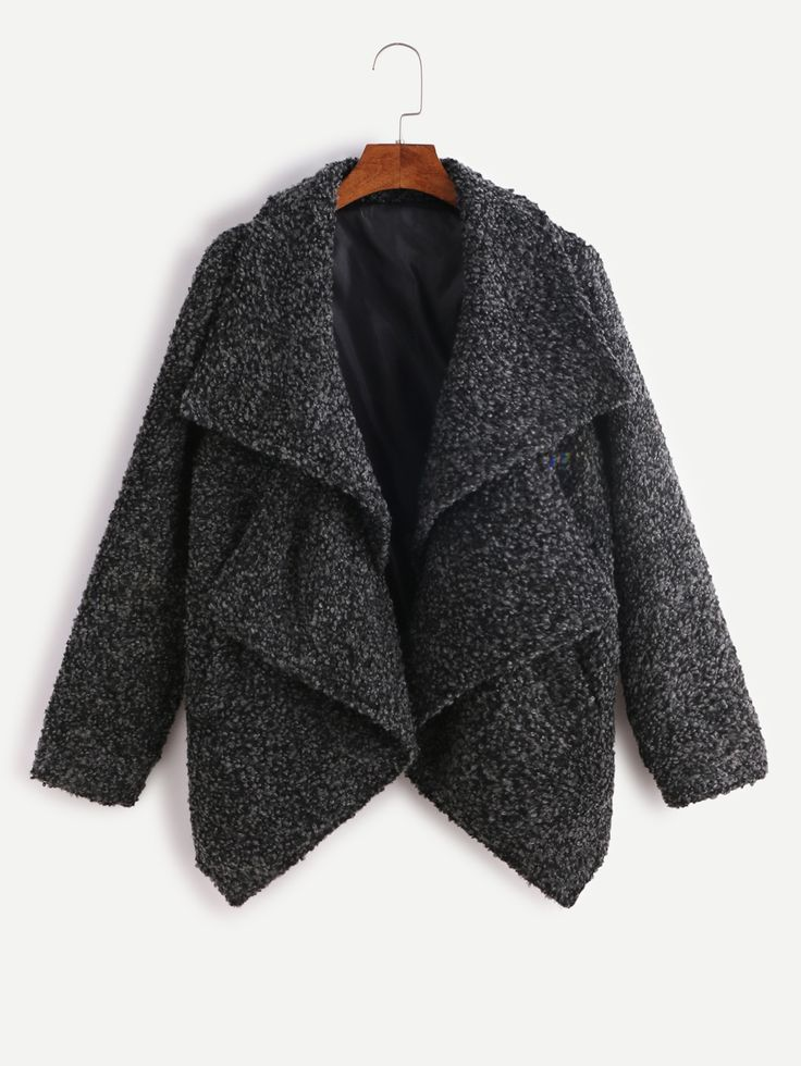 SheIn offers Dark Grey Double Collar Asymmetric