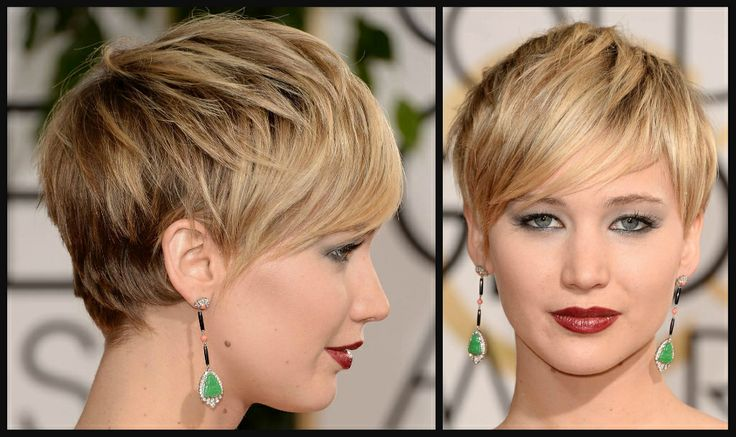 jennifer lawrence short hair images | Jennifer Lawrence at the 2014 Golden Globe Awards