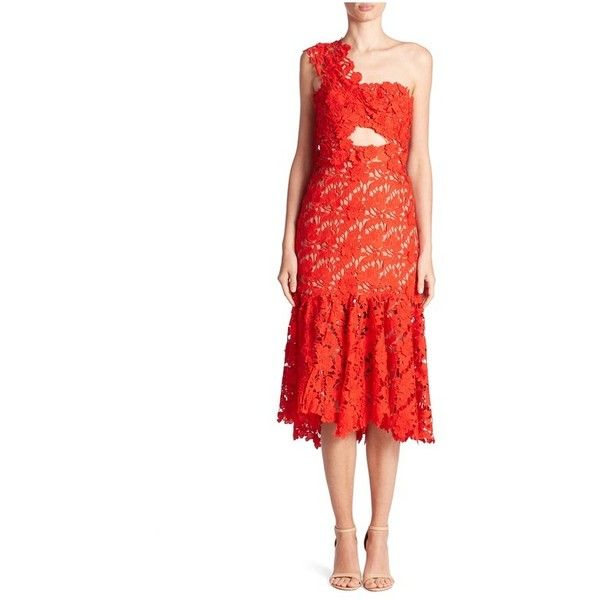 Johanna Ortiz Macarena One Shoulder Dress ($2,280) ❤ liked on Polyvore featuring dresses, midi, red, red lace cocktail dress, red lace dress, red cocktail dress, floral midi dress and midi cocktail dress
