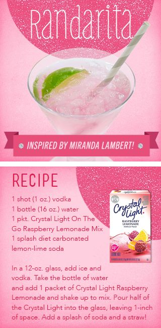 Crystal Light - A Sip In The Right Direction miranda lambert inspired crystal light recipes for cocktails