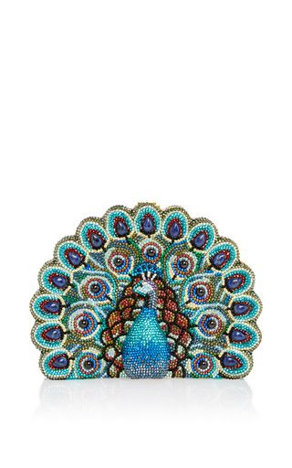 Peacock clutch by JUDITH LEIBER for Preorder on Moda Operandi