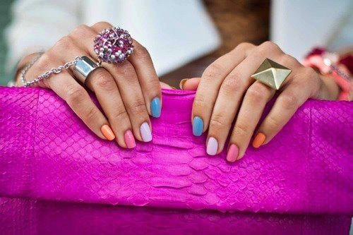 GIVE YOUR NAILS COLOR!!!: Nails Art, Color Combos, Nails Design, Pastel Nails, Multicolored Nails, Nails Polish, Color Nails, Rainbows Nails, Bright Nails