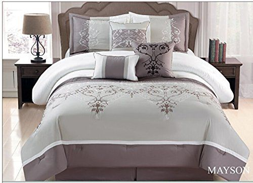 Fancy Collection 7-pc Embroidery Bedding Taupe Grey Comforter Set (Queen)