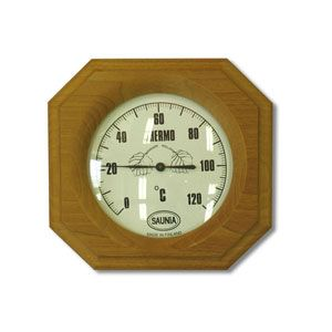 This beautifully shaped thermometer is hand made in Finland with heat treated wood.