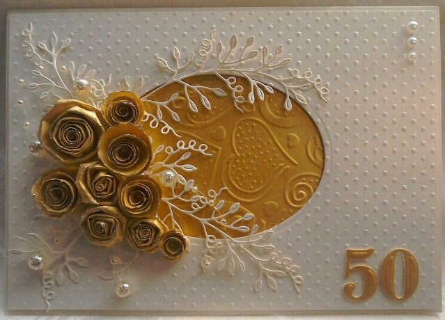 50th anniversary card with Anna Marie Designs card, paper & beads, Spellbinders embossing folders, Tattered Lace sweet pea die cuts & handmade flowers - by Lynne Lee.