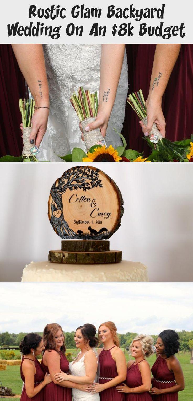 Rustic Glam Backyard Wedding | The Budget Savvy Bride | Wine bridesmaid dresses from David's Bridal | burgundy wedding | sunflower bridal bouquet #BridesmaidDressesLace #BridesmaidDressesLong #TaupeBridesmaidDresses #BridesmaidDressesWithSleeves #GrayBridesmaidDresses