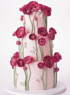Дизайнерский свадебный торт с цветами