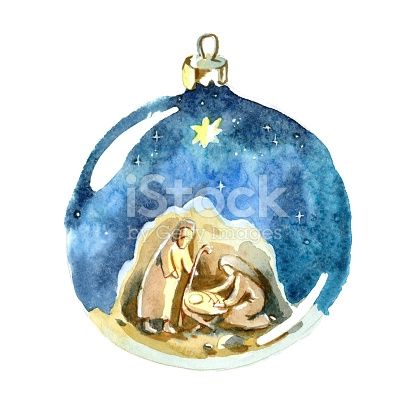 Watercolor Christmas ball. Christmas decorations. Holy family, Joseph, Mary and newborn Jesus drawing in Christmas ball.