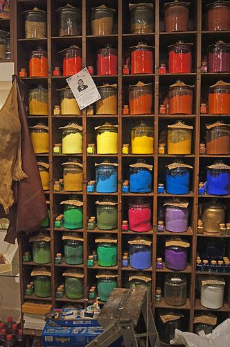 Pigments on display in a Venetian art supply / grocery store.