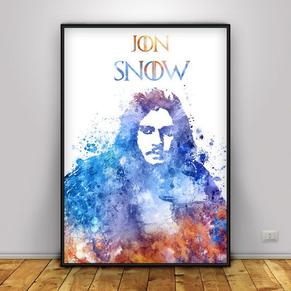 Jon Snow Poster, Game of thrones printable art, A song of ice and fire,Stark, Targaryen, R L J, Asoiaf, Watercolor Lord Snow, Kit harington