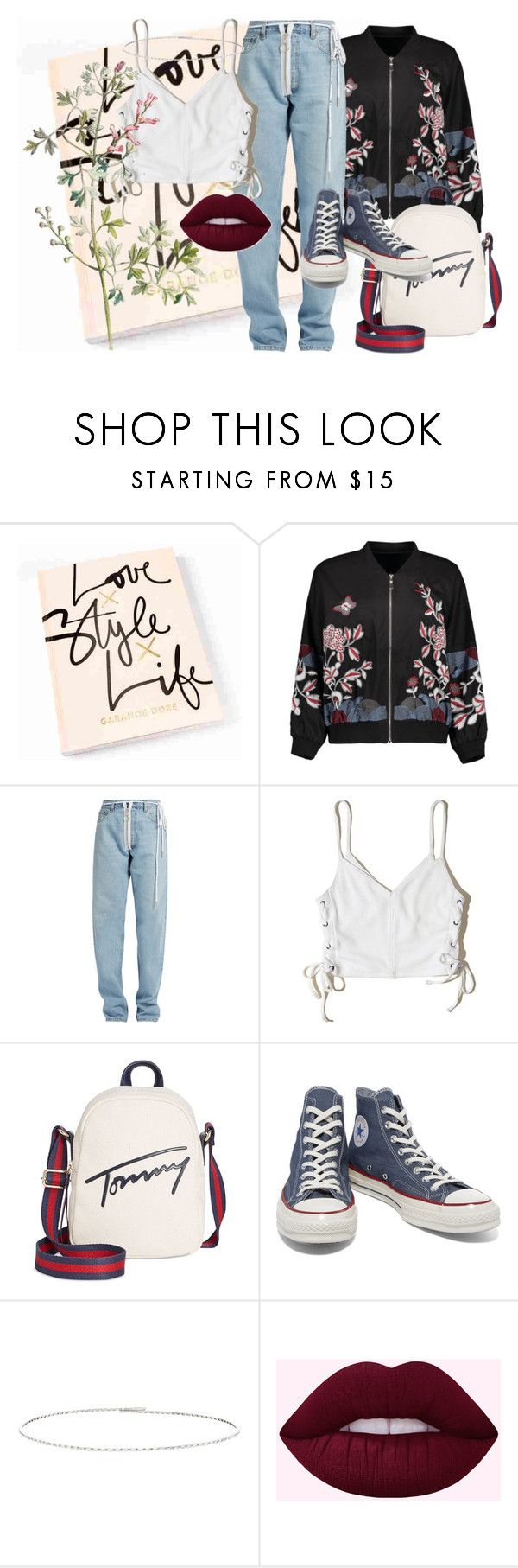 """""""bass"""" by personalnightmare ❤ liked on Polyvore featuring Off-White, Hollister Co., Tommy Hilfiger, Converse and Suzanne Kalan"""