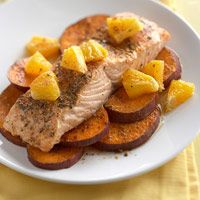Southwest Salmon and Sweet Potatoes  Using a foil packet to steam this fish and potato dinner, instead of cooking in butter or oil, helps keep the calories and fat low.