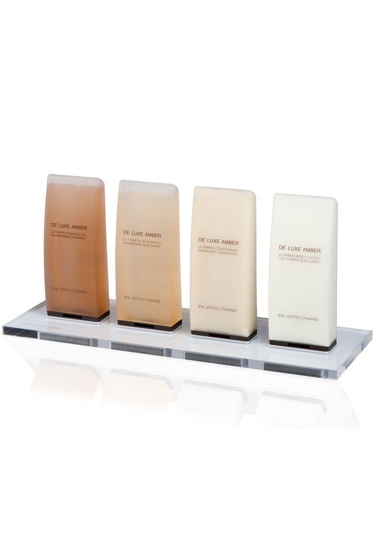 Amber Hotel bath amenities & plexiglass tray by Ex Voto Paris