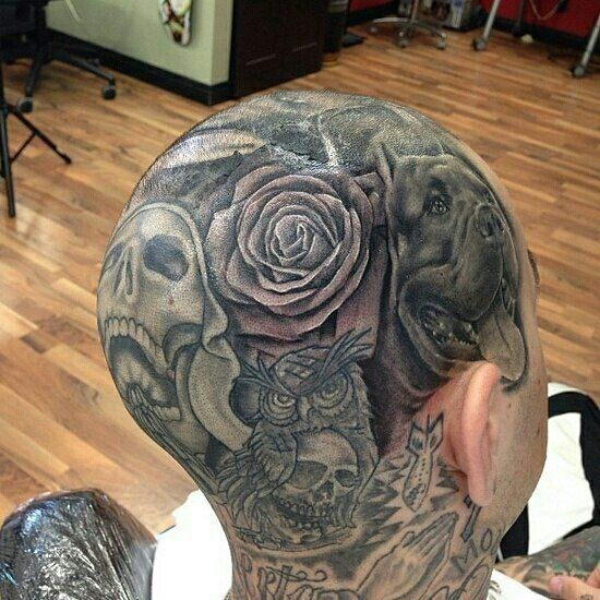 92 best images about head tattoos on pinterest chicano for Full head tattoo