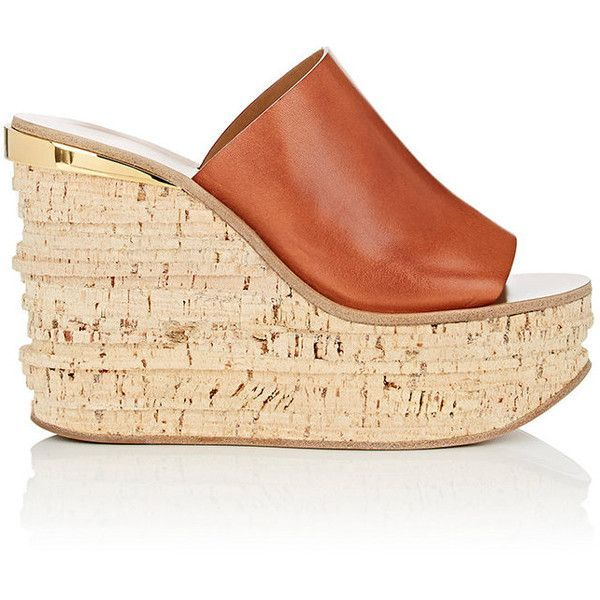 Chloé Women's Camille Leather Wedge Slide Sandals (€405) ❤ liked on Polyvore featuring shoes, sandals, tan, platform sandals, slip on sandals, high heel platform sandals, tan platform sandals and cork platform sandals