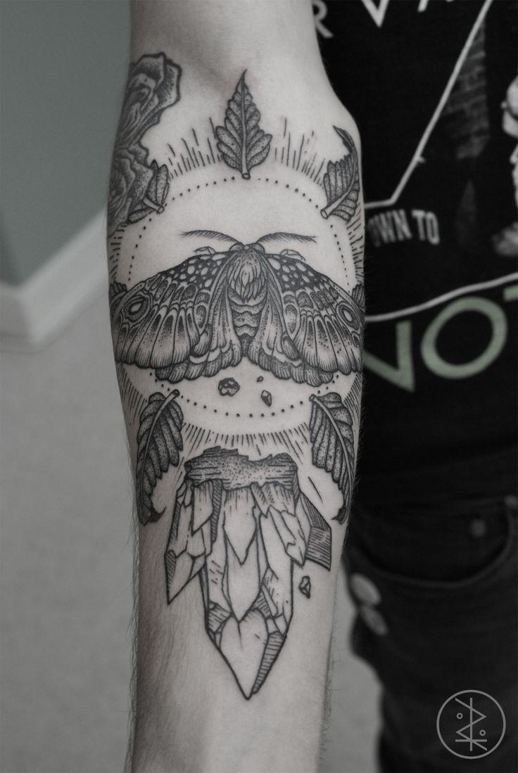moth and crystal #arm #forearm #tattoos