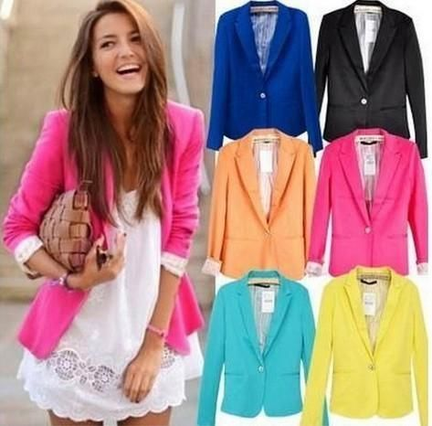 Spring Women Blazers Jackets Small Chiffon Suit Jacket Candy Color Long Sleeveuotelab