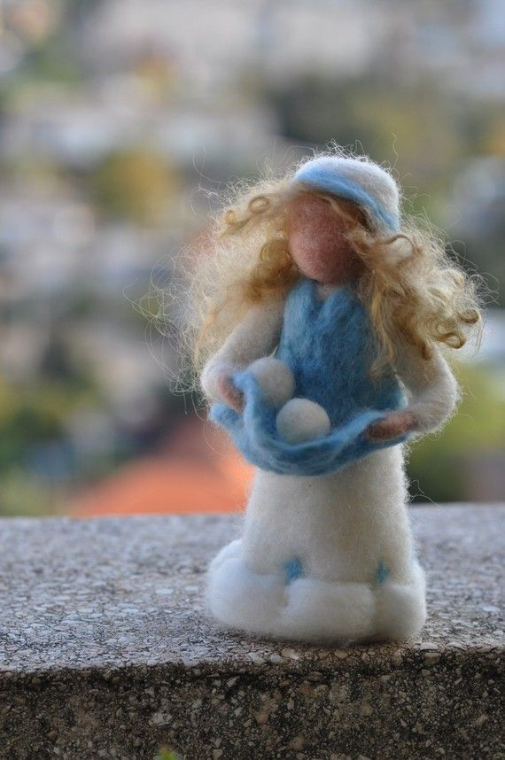 Needle felted Waldorf Doll.  Lady Winter Standing by darialvovsky