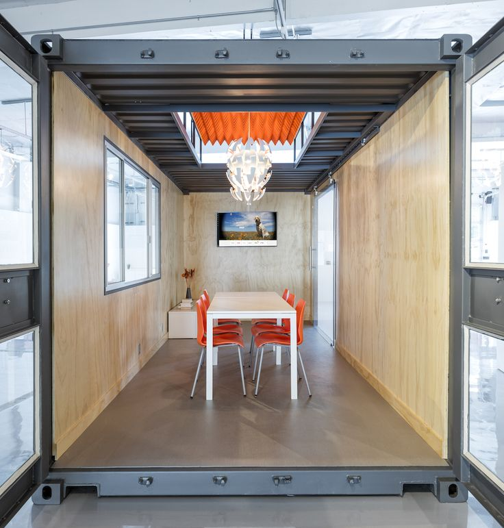 The interior of the container conference room.