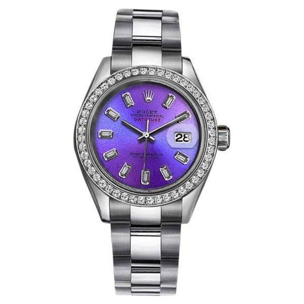 Pre-owned Rolex Datejust Stainless Steel Neon Purple wDiamond... ($4,199) ❤ liked on Polyvore featuring jewelry, watches, preowned watches, neon jewelry, preowned jewelry, purple jewellery and purple jewelry