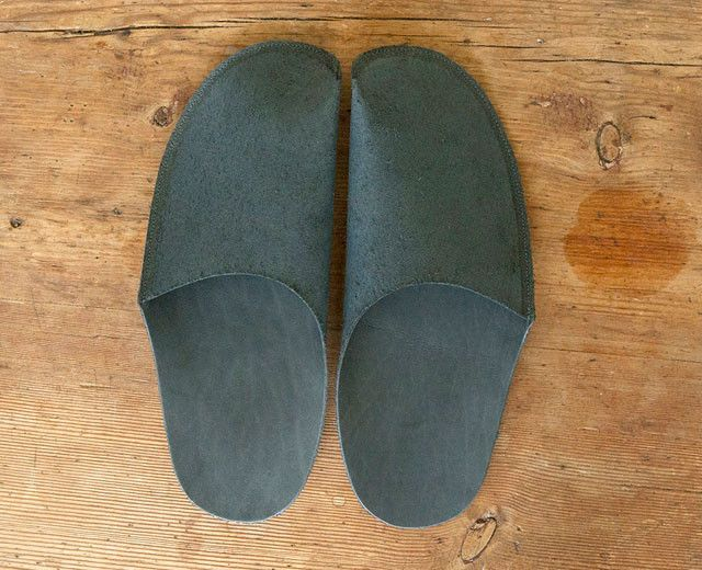 Black Leather Slipper