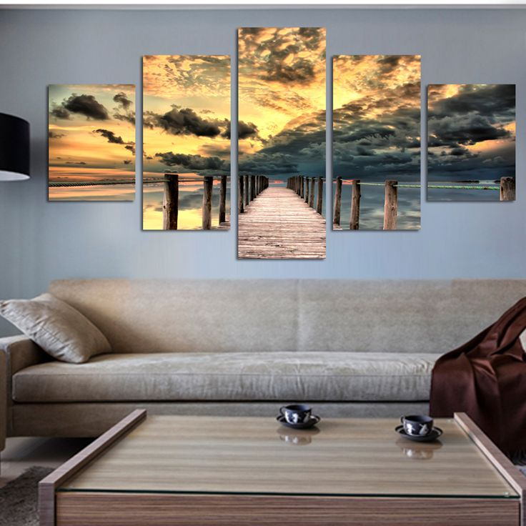 Gratis verzending 5 stuk zeegezicht wall art houten brug schilderen op canvas zonsondergang oceaan foto unieke gift voor woondecoratie(China (Mainland))