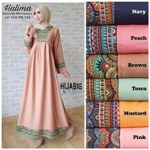 Gamis Halima Dress Ori Hijabig Longdress Maxi Balotelli