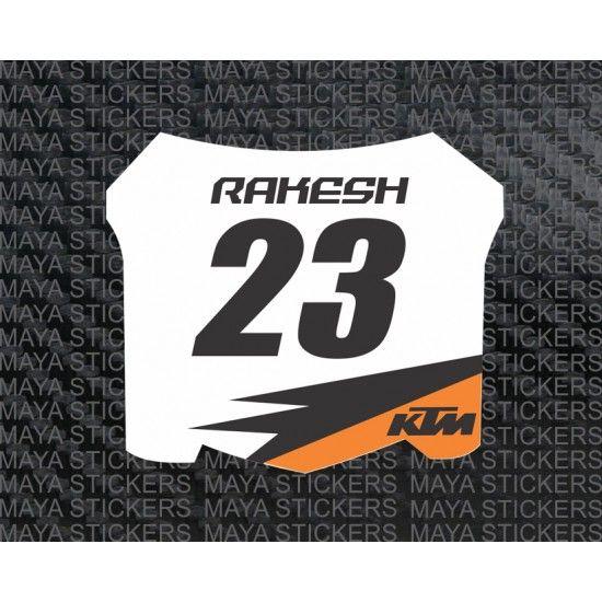 Ktm racing style name and number custom sticker for ktm ktm