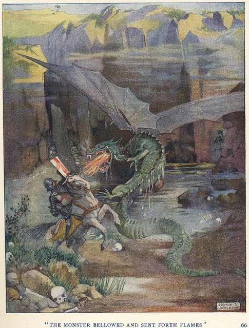 Saint George & The Dragon  illustration by Honor C. Appleton .  From Saint George Of England by Basil Hood . 1919