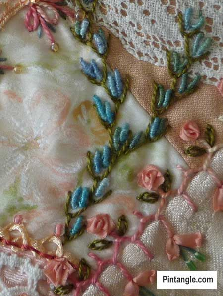 Bullion knot stitch sample 6